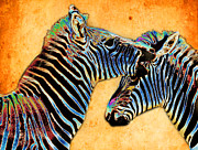 Talking Metal Prints - Zebra Tales Metal Print by Barbara  White