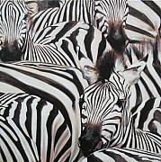 Zebra Paintings - Zebra Triptyche right by Leigh Banks