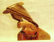 Wood Carving Sculpture Posters - Zebrab Wood Dolphin Poster by Russell Ellingsworth
