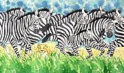 Galloping Paintings - Zebras by Dara  Goldman