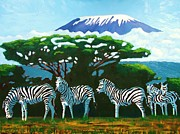 National Park Paintings - Zebras by Juma Hassan