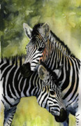Giraffe Paintings - Zebras by Roger Bonnick