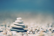 Azur Posters - Zen Balanced Pebbles At Beach Poster by Alexandre Fundone