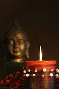 Oriental Art Art - Zen candle and buddha statue by Sandra Cunningham