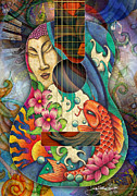 Buddhist Drawings - Zen Guitar by Julie Oakes