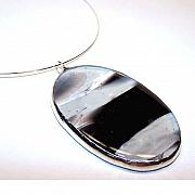 Fused Glass Jewelry - Zen Oval by Kelly DuPrat