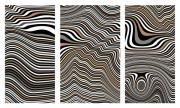 Op Art Digital Art Posters - Zen Stone Garden Triptych Poster by Pet Serrano