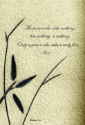 Philosophical Mixed Media - Zen Sumi 4c Antique Motivational Flower Ink on Watercolor Paper by Ricardos by Ricardos Creations