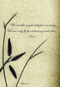 Philosophical Mixed Media - Zen Sumi 4d Antique Motivational Flower Ink on Watercolor Paper by Ricardos by Ricardos Creations