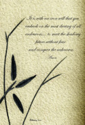 Philosophical Mixed Media - Zen Sumi 4g Antique Motivational Flower Ink on Watercolor Paper by Ricardos by Ricardos Creations