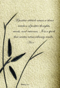 Philosophical Mixed Media - Zen Sumi 4k Antique Motivational Flower Ink on Watercolor Paper by Ricardos by Ricardos Creations