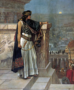 Full-length Portrait Painting Prints - Zenobias last look on Palmyra Print by Herbert Gustave Schmalz