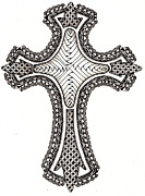 Zia Drawings - Zentangle Cross by Michelle Kidwell