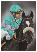 Racing Pastels - Zenyatta and Mike by Dagmar Galleithner- Steiner
