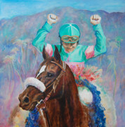 Award Winning Painting Originals - Zenyatta and Mike Smith by Leisa Temple