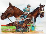 Horses Drawings Metal Prints - Zenyatta Metal Print by Dave Olsen