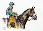 Kentucky Derby Painting Metal Prints - Zenyatta Metal Print by Thomas Allen Pauly