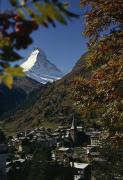 Matterhorn Prints - Zermatt Village With The Matterhorn Print by Thomas J. Abercrombie