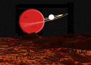 Red Dwarf Prints - Zeta Piscium Is A Binary Star System Print by Ron Miller