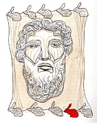 Zeus Drawings Framed Prints - Zeus Framed Print by Sibel Kantola