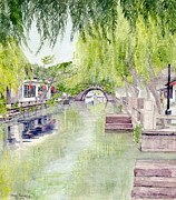 Old Shanghai China Prints - Zhou Zhuang Watertown Suchou China 2006 Print by Melly Terpening