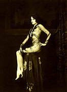 Ziegfeld Girl Prints - Ziegfeld Girl Jean Ackerman in Black Translucent Lace Gown Print by Rosie Mills