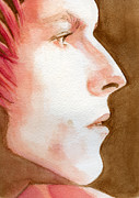 David Bowie Portrait Paintings - Ziggy Stardust by Karen Clark