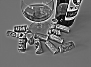 Merlot Photo Metal Prints - Zin Black and White Metal Print by Cheryl Young
