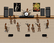 Linda D Seacord Prints - Zinglees-The Jazz Band Print by Linda Seacord