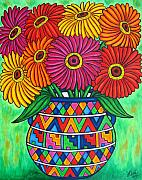 Aztec Paintings - Zinnia Fiesta by Lisa  Lorenz