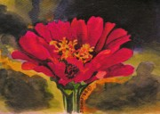 Zinnia Paintings - Zinnia Flower by Joy Bradley                   DiNardo Designs