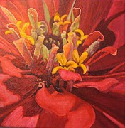 Zinnia Paintings - Zinnia Moving Inward by Stephanie Corder