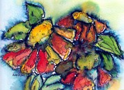 Zinnia Paintings - Zinnia Splash by Anne Duke