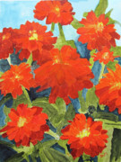 Zinnia Paintings - Zinnias by Sandy McIntire