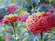 Zinnia Paintings - Zinnias by Sue Zimmermann