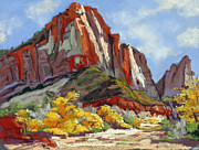 Fall Colors Pastels Posters - Zion fall vista Poster by Patricia Rose Ford
