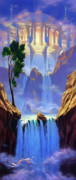 Waterfall Painting Posters - Zion Poster by Jeff Haynie