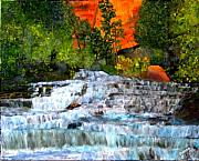 Waterfalls Paintings - Zion National Park Utah by Colleen DalCanton