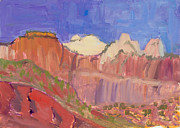 Zion Painting Prints - Zion National Park Utah Print by Suzanne Elliott