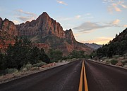 Yellow Line Prints - Zion Road Print by Jason Cameron