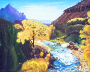 Southern Utah Painting Framed Prints - Zions in Autumn Framed Print by Sherril Porter