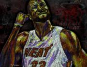 Miami Heat Drawings Prints - Zo Print by Maria Arango