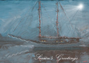Star-ship Paintings - Zodiac Holiday Card by Robert Bissett