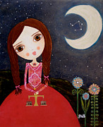 Brunette Mixed Media Prints - Zodiac Libra Print by Laura Bell