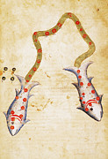 Manuscript Illumination Prints - ZODIAC: PISCES, c1350 Print by Granger