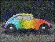 Vw Beetle Mixed Media Framed Prints - Zodiac VW Bug Mosaic Framed Print by Paul Van Scott