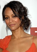 Hair Bun Posters - Zoe Saldana At Arrivals For Death At A Poster by Everett