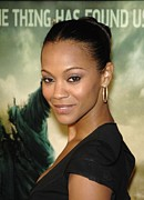 Hair Bun Framed Prints - Zoe Saldana At Arrivals For L.a Framed Print by Everett