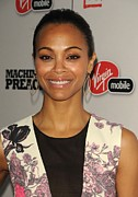 Hoop Earrings Prints - Zoe Saldana At Arrivals For Machine Gun Print by Everett
