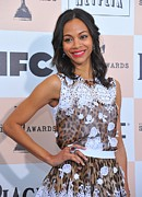 Leopard Print Framed Prints - Zoe Saldana Wearing A Dolce & Gabbana Framed Print by Everett